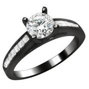 Noori Collection Noori 14k Black Gold 1ct Round Princess Cut Diamond Engagement Ring