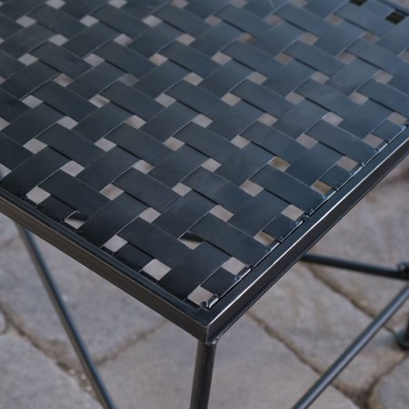 Alexander Outdoor Iron Coffee Table, Black
