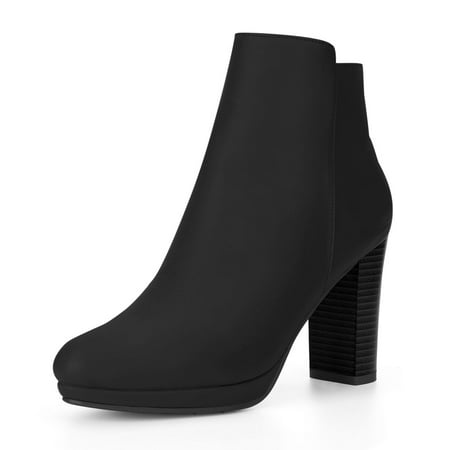 Unique Bargains Women's Round Toe Block Heel Platform Ankle Boots (Platform Stripper Boots)