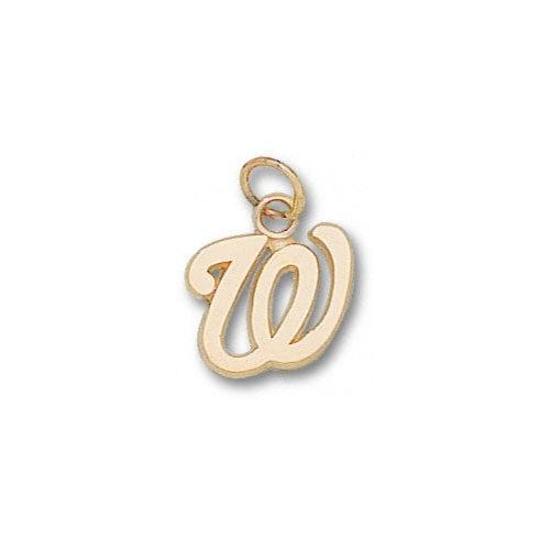 MLB - Washington Nationals 10K Gold ''W'' 1/2'' Pendant