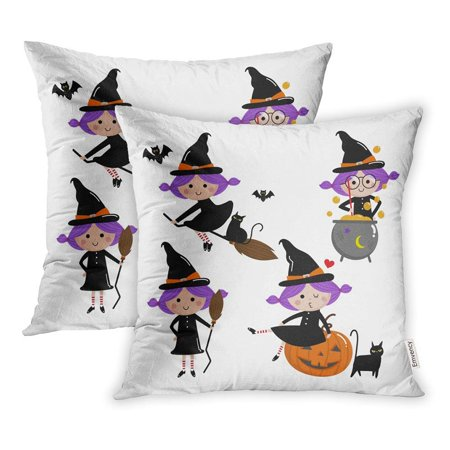 ARHOME Cartoon Cute Witch Halloween Cat Character Hat Moon Pot Bat Broom Pillowcase Cushion Cover 16x16 inch, Set of 2 (Pot Of Flowers Halloween)