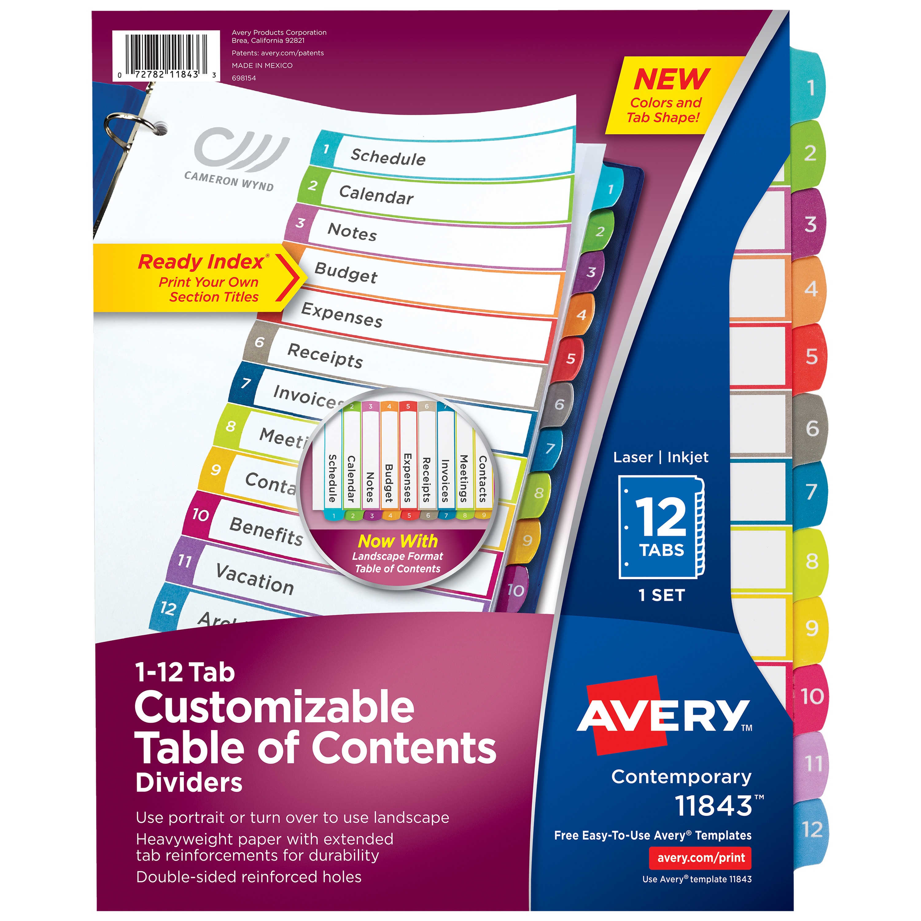 Avery Ready Index 12-Tab Binder Dividers, Customizable