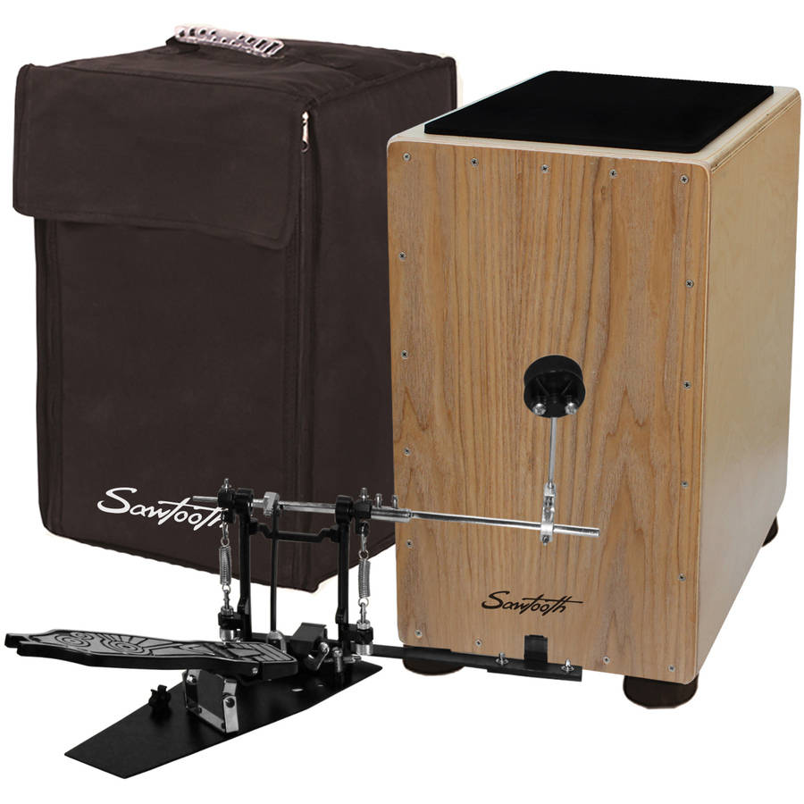 Sawtooth Ash Wood Cajon with Maple Back and Sides - Includes: Cajon Pedal and Seat Pad