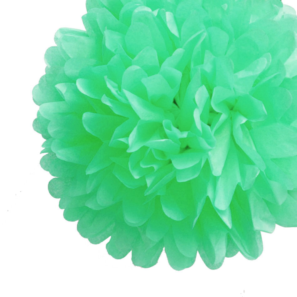 "12"" Cool Mint Green Tissue Paper Pom Poms Flowers Balls, Hanging Decorations (4 PACK)"
