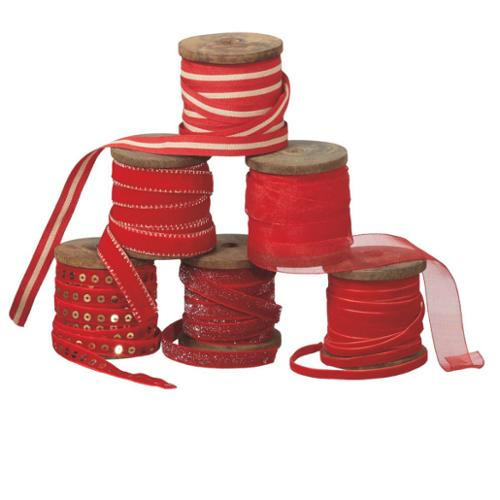 "Set of 6 Rich Red Designer Christmas Ribbon Spools 2.75"" x 30 Yards"