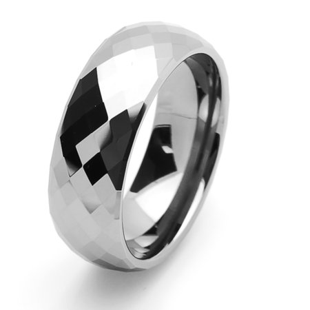 Men Women Tungsten Carbide Wedding Band Ring 8mm Comfort Fit Domed Faceted Ring For Men & Women ()