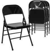 Hercules Hinged Metal Folding Chair Set Of 4 Black Image 1 7