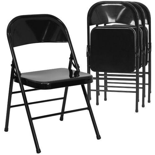 Hercules Hinged Metal Folding Chair, Set of 4, Black