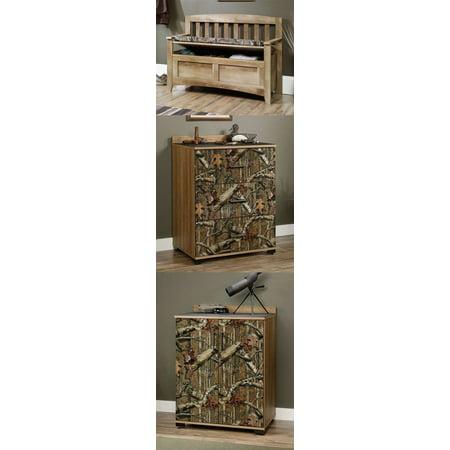 Sauder Furniture Mossy Oak Camo Padded Storage Bench 3