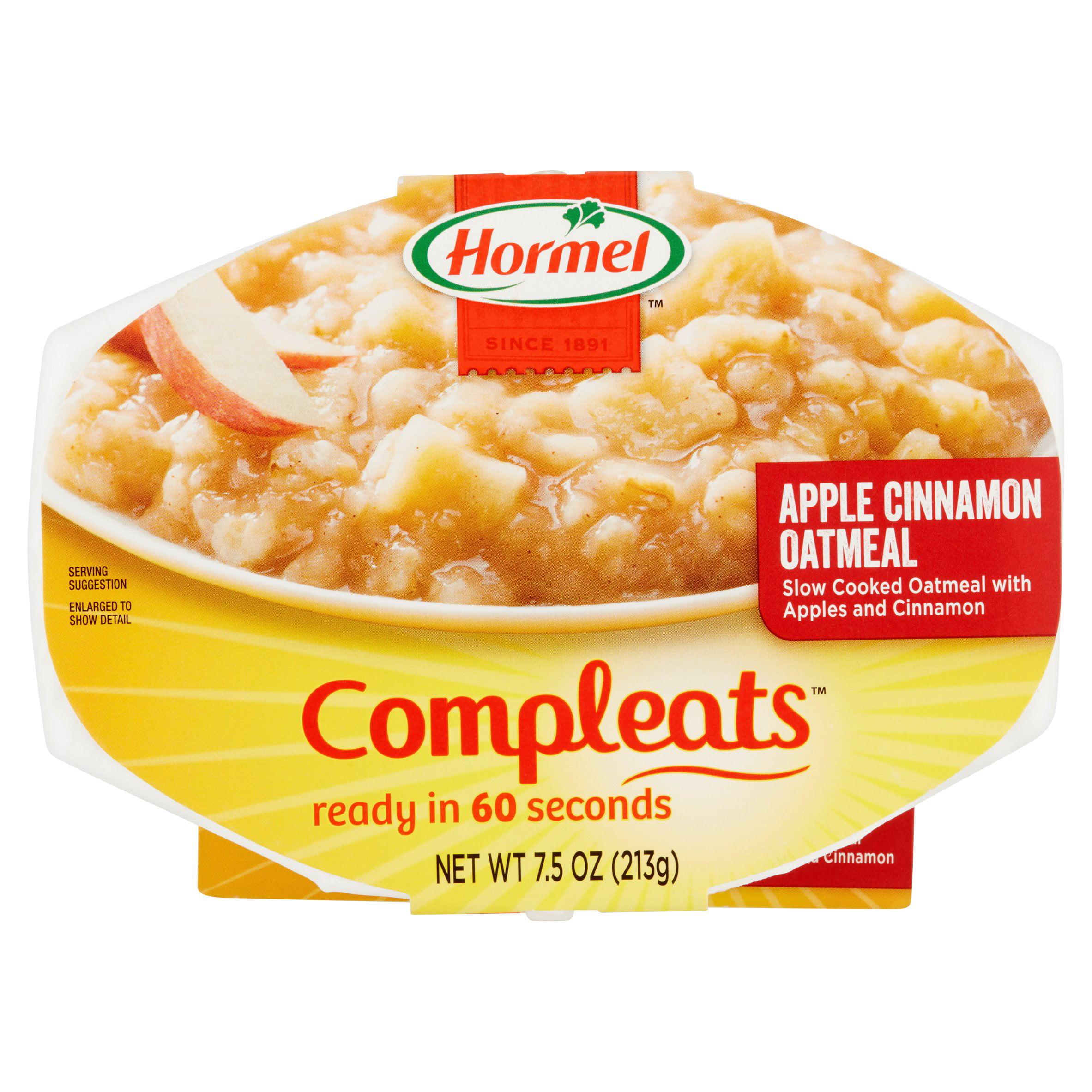 HORMEL; COMPLEATS; Good Mornings Apple Cinnamon Oatmeal 7.5 oz. Bowl