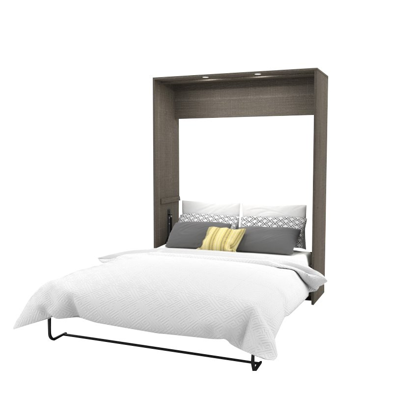 "Kingfisher Lane Classic 104"" Queen Wall Bed Kit in Bark Gray and White"