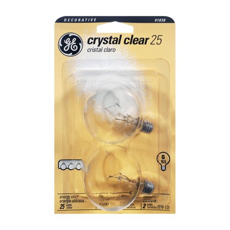 GE Crystal Clear Decorative 25 Watt G Candelabra Base Light Bulb, 2.0 CT