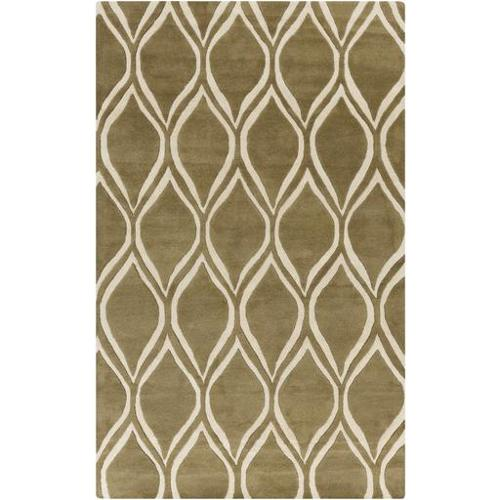 2' x 3' Olive Green and Off White Tear Drops Wool Throw Area Rug