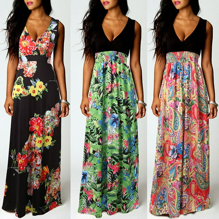 Senfloco Vintage Ladies Girls Summer Evening Party Bohemian V Neck Dress Sundress Comfortable Fitted and Flare Sleeveless Casual Floral Print Tank Long Maxi Dress Beach Dress 4-12 Plus Size