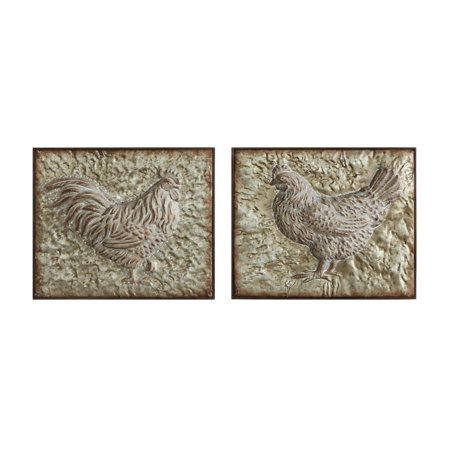 Embossed Rooster (3R Studios Embossed Metal Rooster and Hen Wall Decor - Set of)