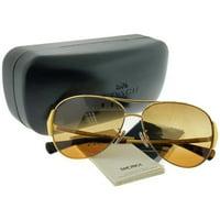 23a0415dab1 Product Image Coach HC7067 9238W8 Gold Dark Tortoise Aviator Sunglasses