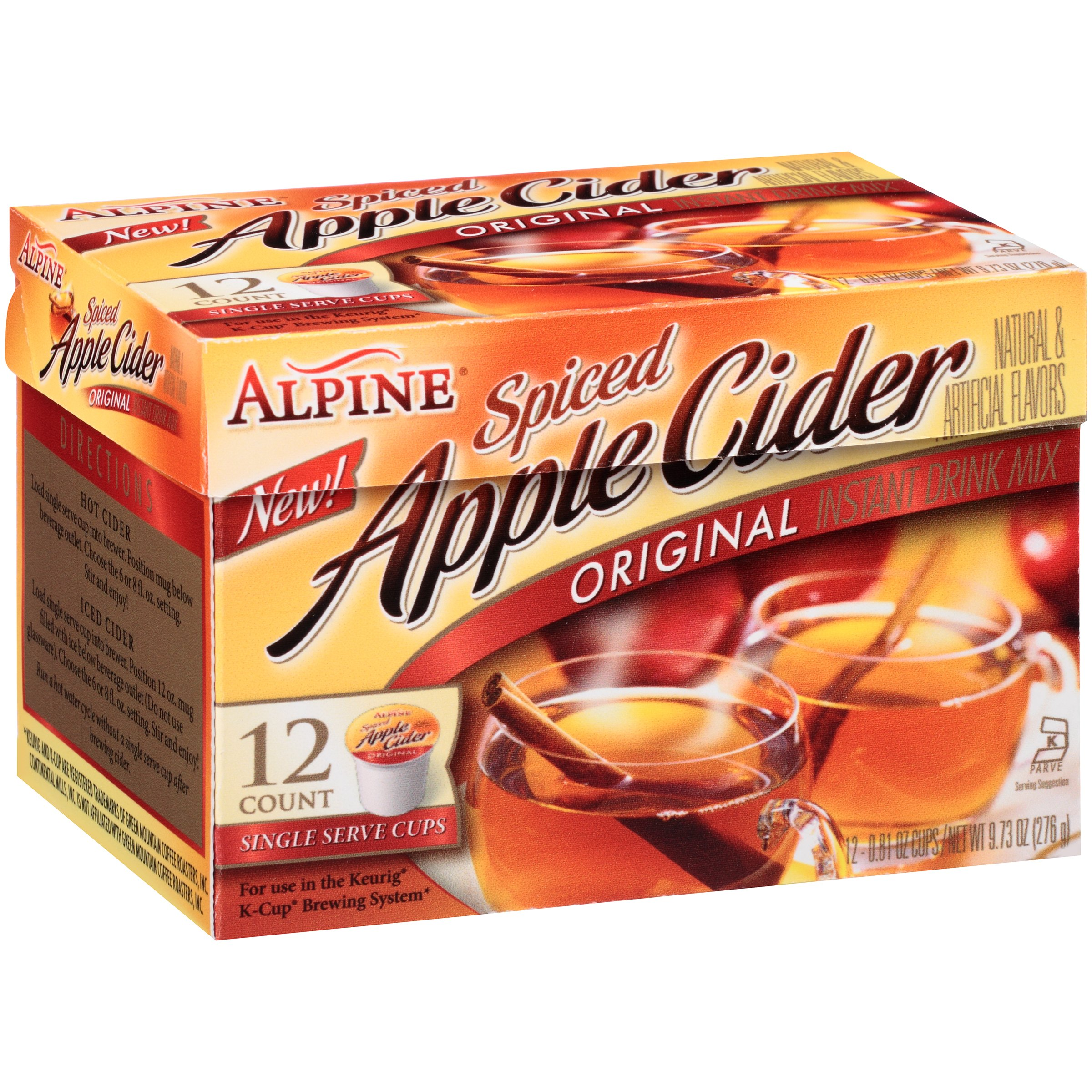 Alpine Original Spiced Apple Cider Instant Drink Mix 12-0.81 oz. Single-Serve Cups by Continental Mills