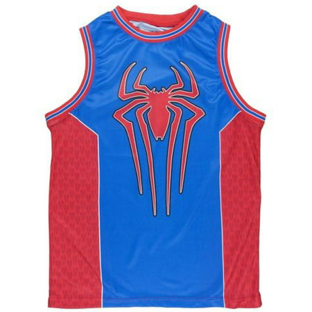 Men's Marvel Spider Man 2 Logo Basketball Jersey #62 Shirt Red/Blue (L)