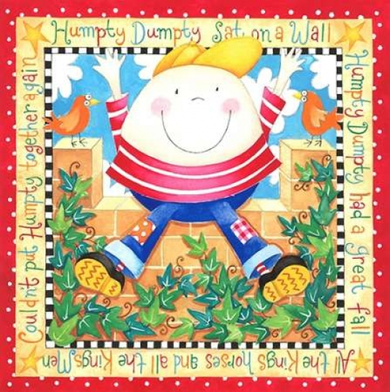 P.S. Art Studios Stretched Canvas Art - Humpty Dumpty - Medium 24 x 24 inch Wall Art Decor Size.
