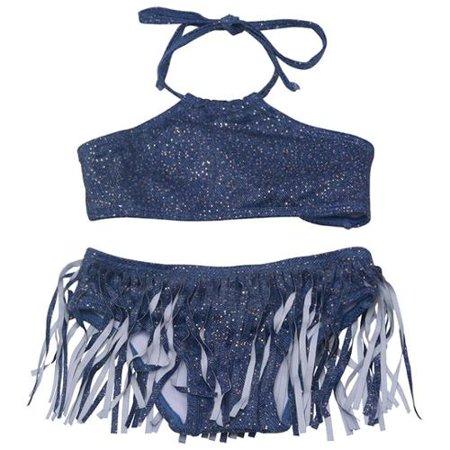 Pily Q Little Girls Navy Sparkle Denim High Neck Fringe Bikini Swimsuit 4