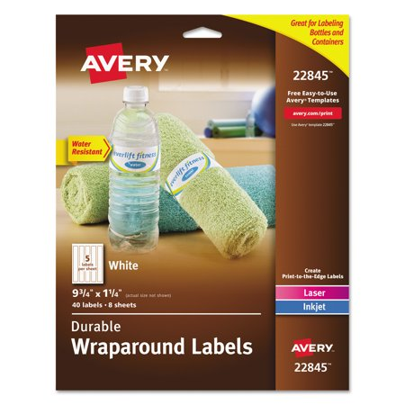 Avery Durable Wrap Around Printer Labels  9 3 4  X 1 1 4   White  40 Pack