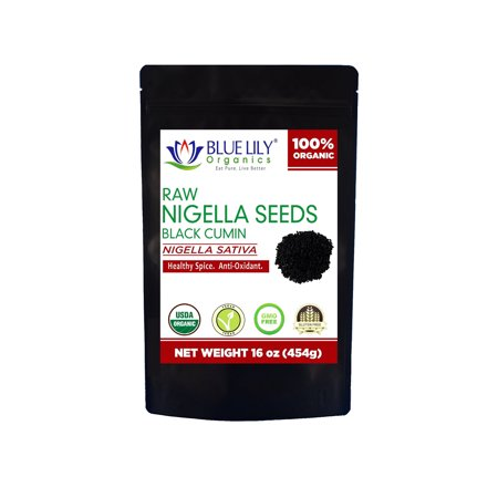 Blue Lily Organics Raw Black Seeds (Nigella Sativa) - Certified Organic (8 oz)