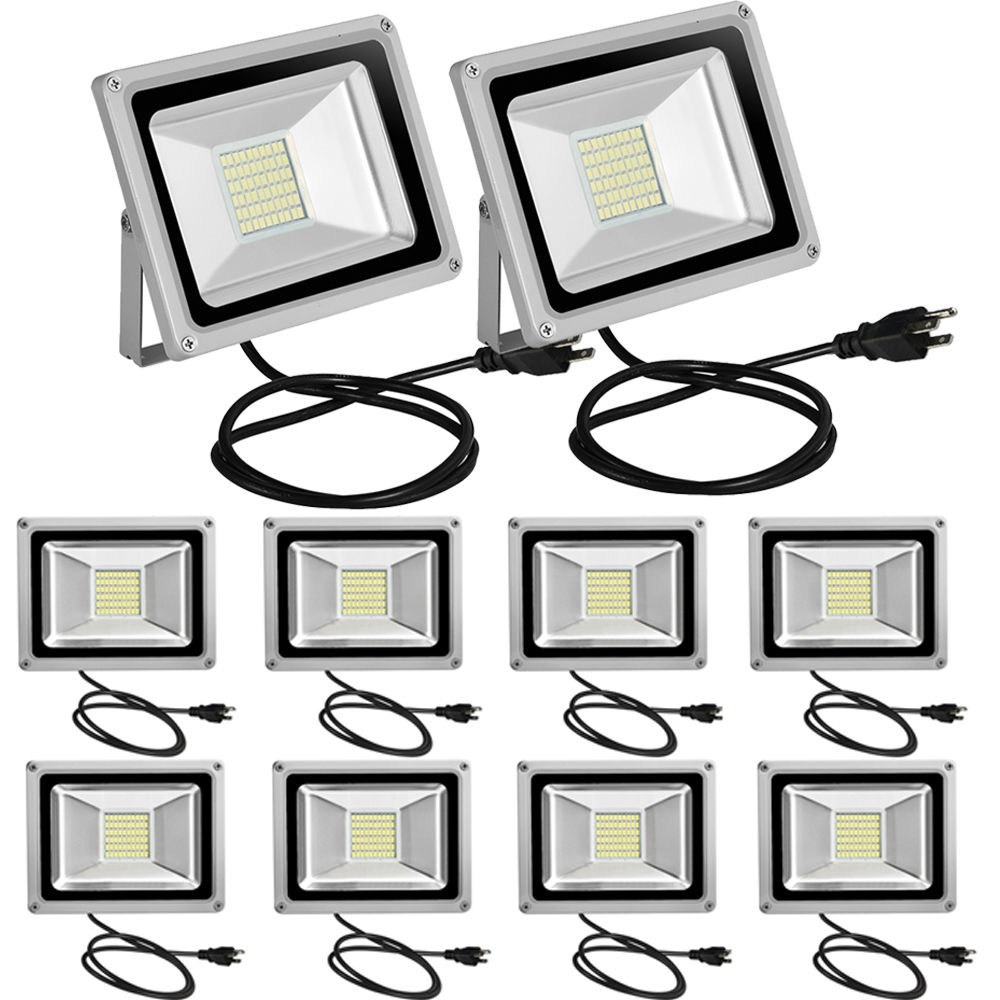 10pcs 30W Cool White LED Flood Light Outdoor Security Garden Light With US PLUG