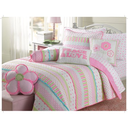 Pastel Marshmallow 100% Hypoallergenic Cotton 3 piece Hand-Appliqued Quilt Set Bedroom Quilt Bedding Full/Full/Queen Pink - Pastel Floral Quilt