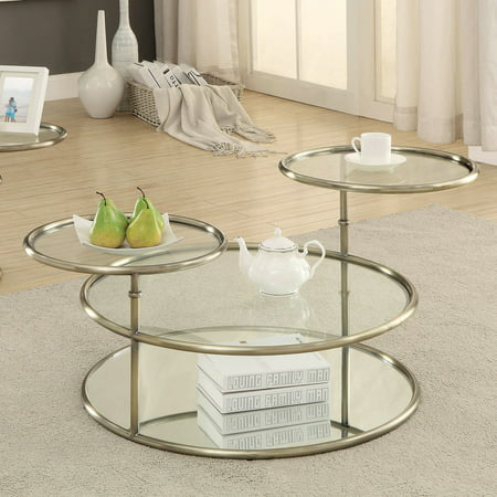 Modern Swivel Coffee Table.Furniture Of America Leanal Modern Round Swivel Coffee Table