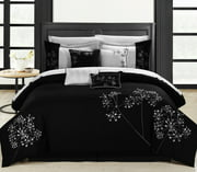 Pink Floral Black & White Comforter Bed In A Bag Set 8 Piece
