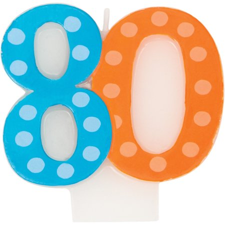 Molded Numeral Candle with Balloon 80th Bright And Bold, Case of 6](Decorating With Crepe Paper And Balloons)