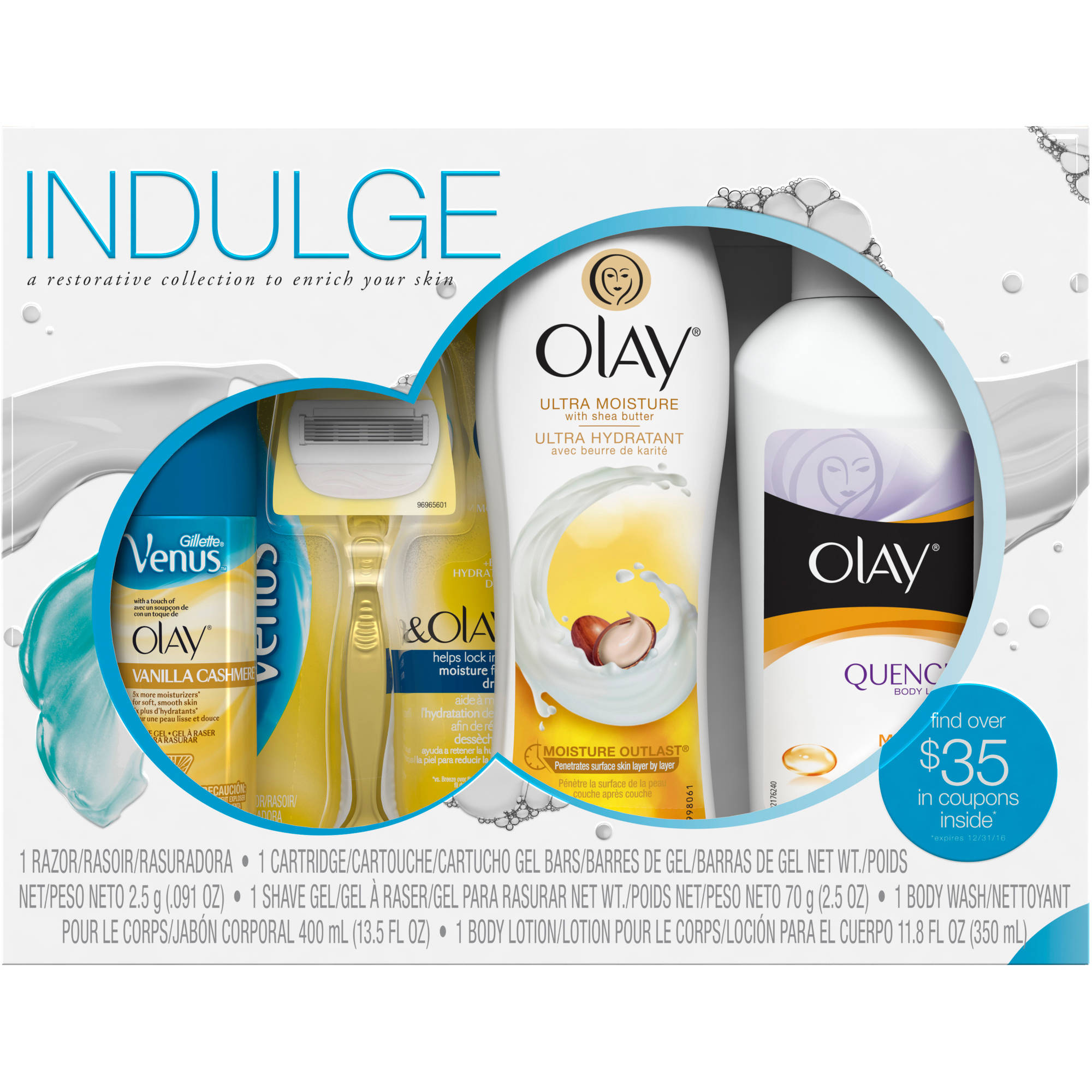 Olay Indulge Shower Collection with Venus Gift Set, 4 pc