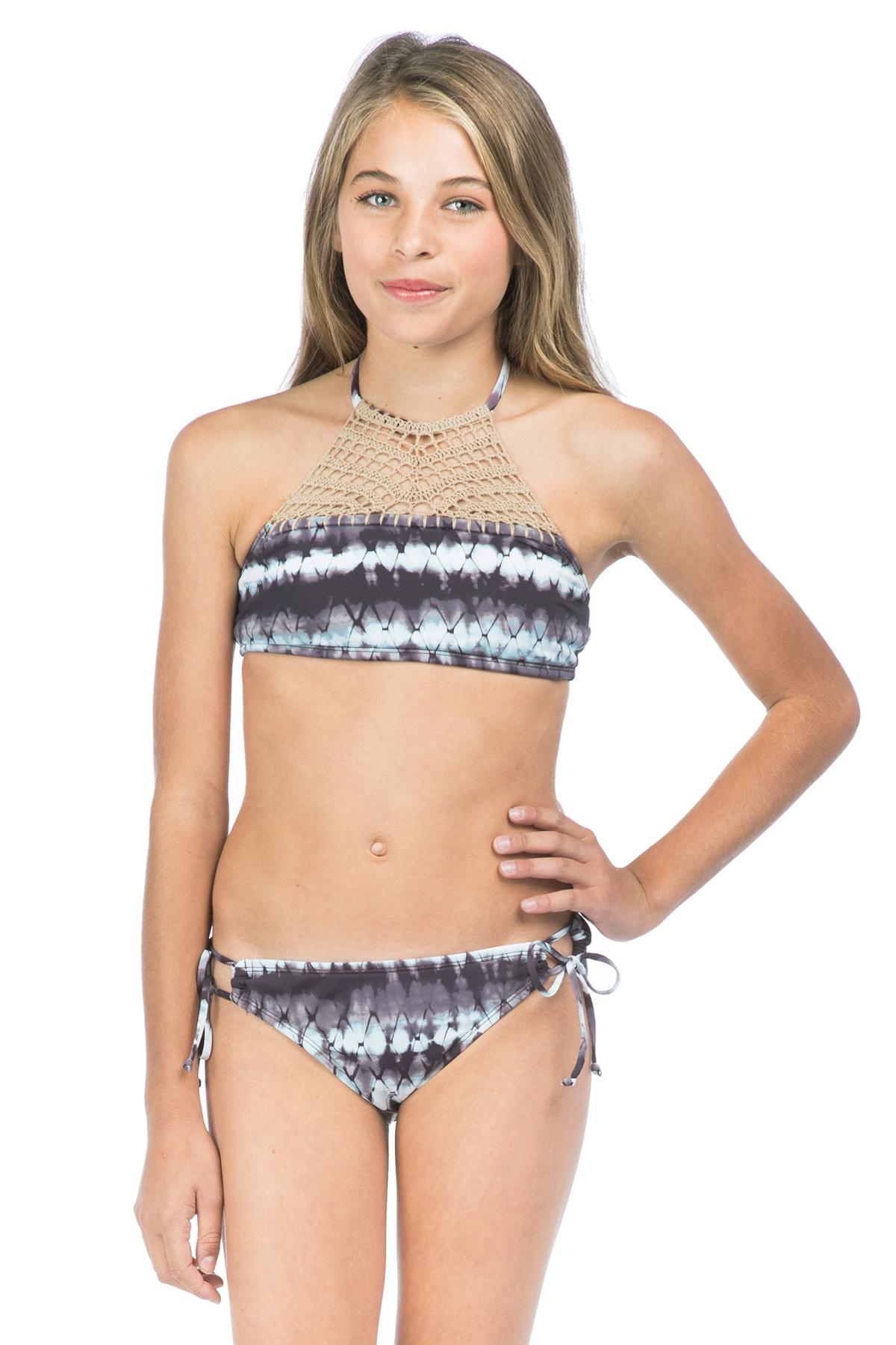 Hobie Girls Tie Dyemonds Crochet High Neck Halter with Tie Side Hipster Swim Set 7