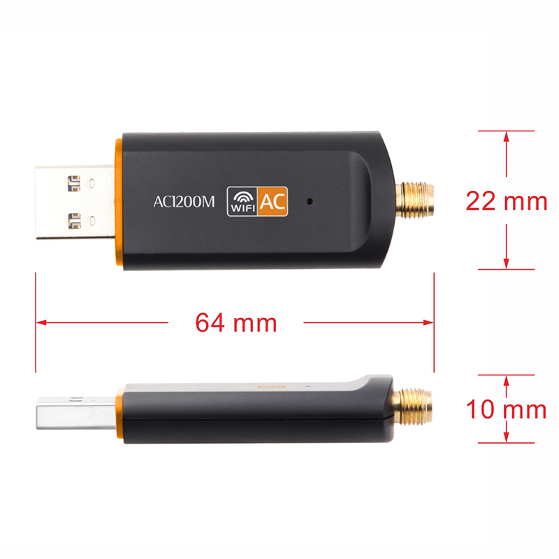 Dual Band USB Adapter AC 1200Mbps Wireless WiFi USB Adapter Dual Band 2.4//5Ghz with Aerial 802.11AC Network Card High Speed USB3.0 Receiver