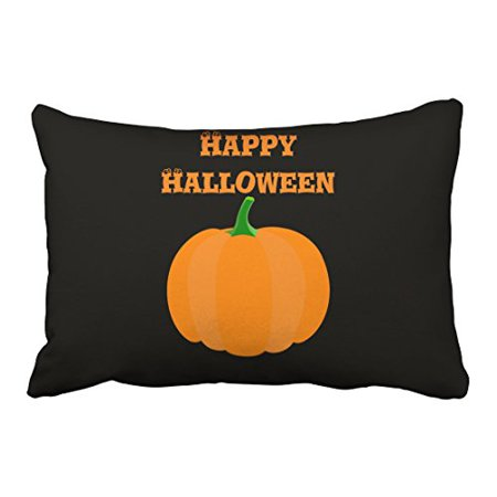 WinHome Retro Classic Simple Happy Halloween Pumpkin Pattern Polyester 20 x 30 Inch Rectangle Throw Pillow Covers With Hidden Zipper Home Sofa Cushion Decorative Pillowcases - Happy Halloween Pumpkin Patterns