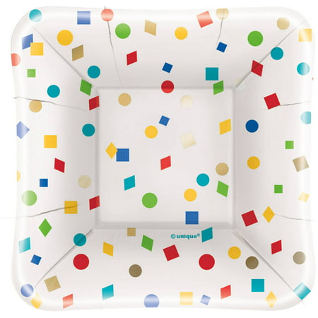 Foil Party Diamond Confetti Square Appetizer Plates, 8ct