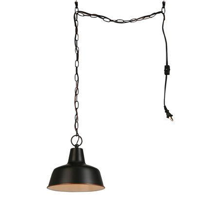 Design House 579391 Mason 1 Light Hanging Swag Light with Plug-In Cord, Oil Rubbed Bronze