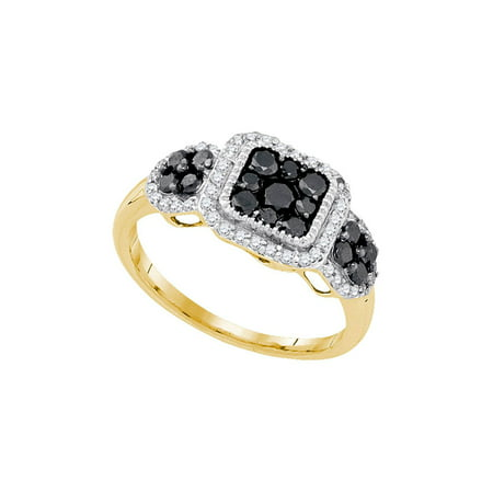 10kt Yellow Gold Womens Round Black Color Enhanced Diamond Square Cluster Ring 3/4 Cttw Multiple Ring Sizes Available