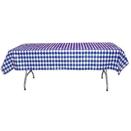 Exquisite 12 Pack Blue & White Gingham Plastic Tablecloth, 108 x 54 Inch (Blue Gingham Tablecloth Plastic)