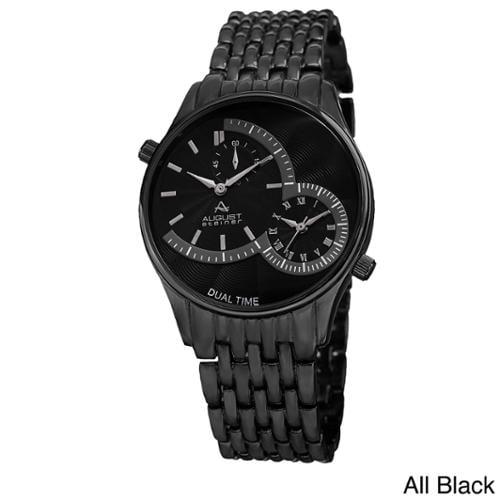August Steiner Men's Swiss Quartz Dual Time Bracelet Watch Silver Bracelet/Blue Dial
