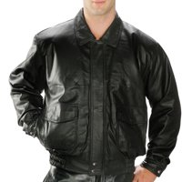 USA Leather USA Leather 1515 'Classic Aviator' Men's Bomber Black Leather Jacket Black Small