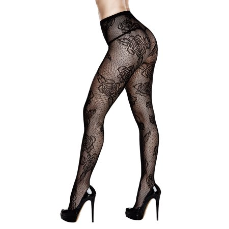 Plus Size Diamond And Floral Pantyhose, Plus Size Lace