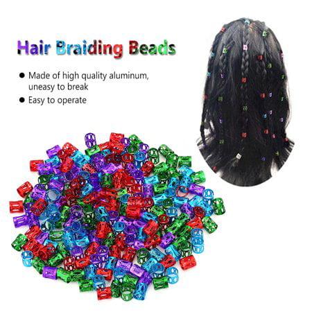 Karlge 100 Pcs Colorful Adjustable Hair Braid Beads Rings Cuff Hair Beauty Decoration Tool , Hair Braid Beads, Wig Accessories Beading Accessories Tools