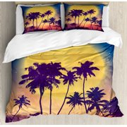 Tropical Queen Size Duvet Cover Set, Retro Style Full Moon Rise with Palm Silhouettes Romantic Magic Night at the Beach, Decorative 3 Piece Bedding Set with 2 Pillow Shams, Multicolor, by Ambesonne