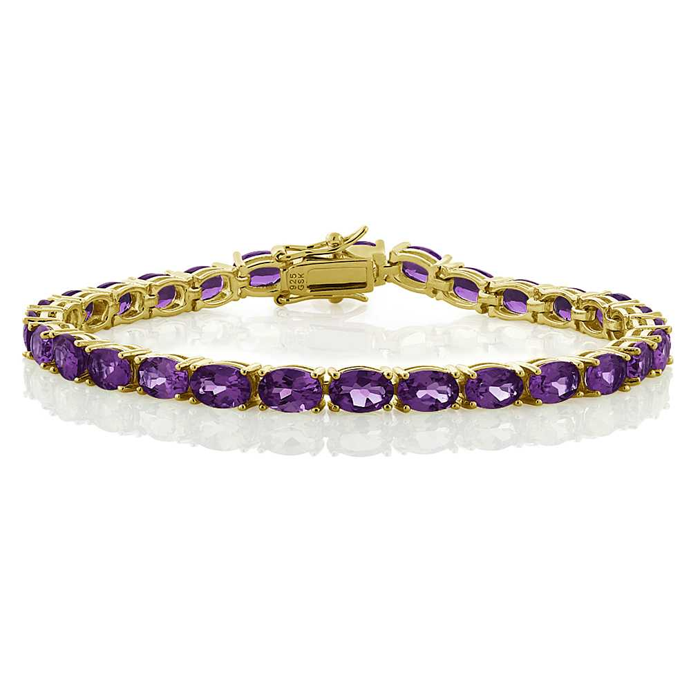 "12.00 Ct 18k Yellow Gold Plated Sterling Silver Amethyst Tennis Bracelet, 7.5"" by"