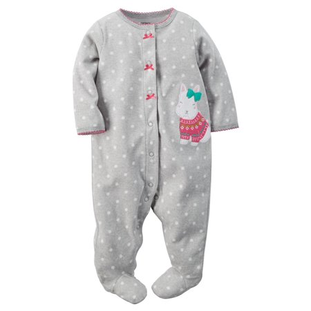 Carters Baby Clothing Outfit Girls Microfleece Snap-Up Sleep & Play Polka Dot Dog