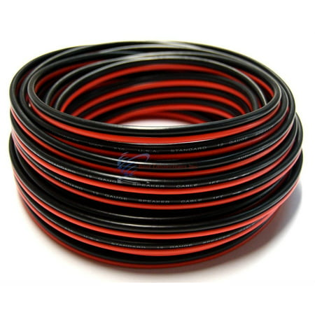 Black 12 Gauge Speaker Wire (12 Gauge 50' Red Black Stranded 2 Conductor Copper Clad Speaker Wire)