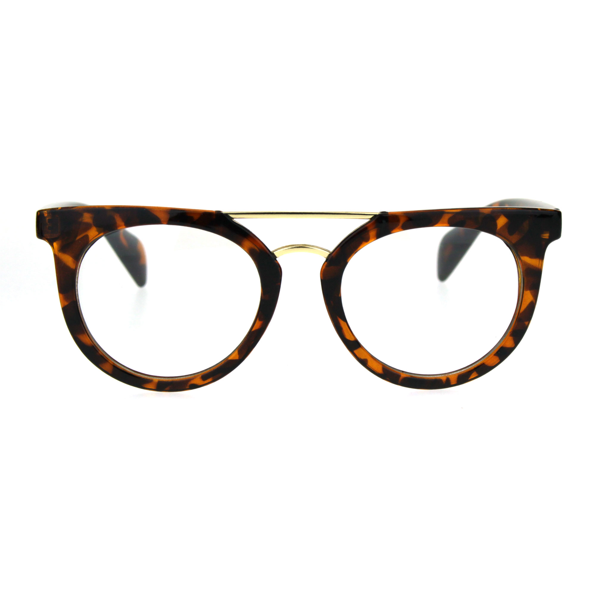 Vintage Style Flat Top Nerdy Metal Bridge Horn Rim Clear Lens Glasses Tortoise