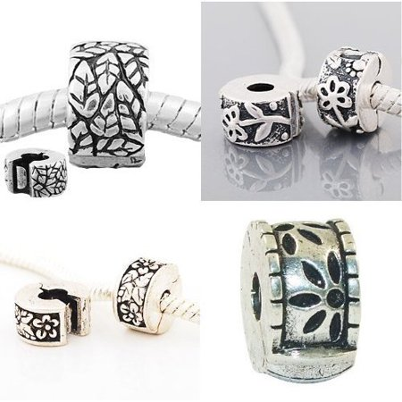 Eight (8) Pack Of Floral Design Clip Lock Stopper Bead Charms Fits Pandora Troll Zable Chamilia