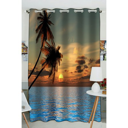 PHFZK Tropical Seascape Window Curtain, Sunset Coconut Palm Trees on a Beach Window Curtain Blackout Curtain For Bedroom living Room Kitchen Room 52x84 inches One